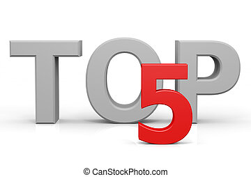 Top five. Computer generated image.