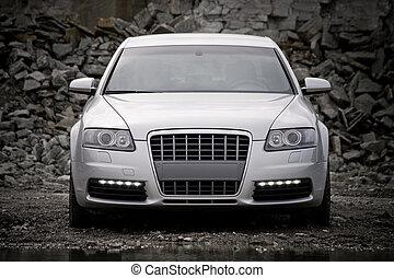 top-front, vista, de, un, automóvil de lujo