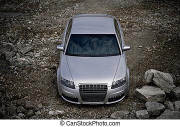 top-front, vista, di, uno, automobile
