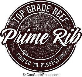 Top Grade Prime Rib Beef - Vintage style prime rib steak...