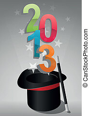 top hat 2013 - illustration of top hat with 2013 text