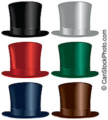 A top hat selection in black, gray, red, green, blue and brown colors.