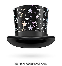 Top hat - Black top hat with white stars on the white...
