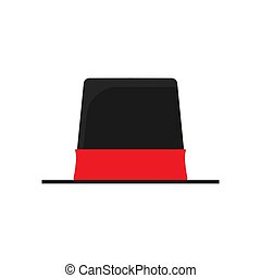 Top hat concept flat clothing headdress vector icon. Flat vintage black and red magic accessory cylinder gentleman