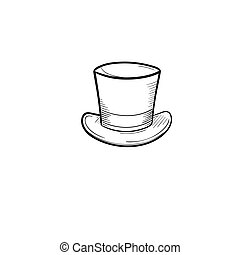 Top hat hand drawn sketch icon.