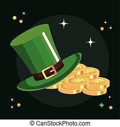 top hat leprechaun with coins