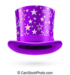 Top Hat - Lilac top hat with white stars on the white...