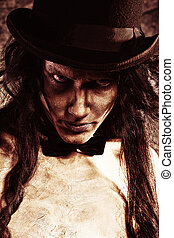 top hat - Close-up portrait of a gloomy vampire standing at...