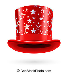 Top hat - Red top hat with white stars on the white...
