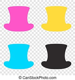 Top hat sign. CMYK icons on transparent background. Cyan, magent