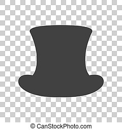 Top hat sign. Dark gray icon on transparent background.
