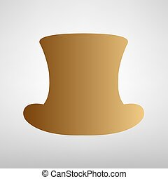Top hat sign. Flat style icon