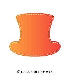 Top hat sign. Orange applique isolated.