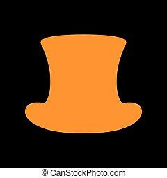 Top hat sign. Orange icon on black background. Old phosphor monitor. CRT.