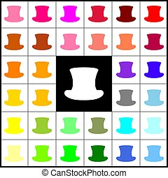 Top hat sign. Vector. Felt-pen 33 colorful icons at white and black backgrounds. Colorfull.