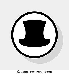 Top hat sign. Vector. Flat black icon in white circle with ...