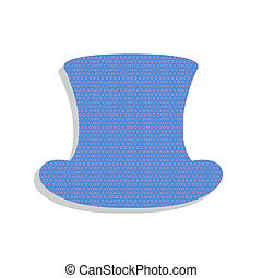 Top hat sign. Vector. Neon blue icon with cyclamen polka dots pa
