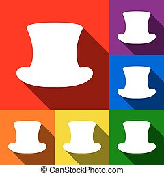 Top hat sign. Vector. Set of icons with flat shadows at red, orange, yellow, green, blue and violet background.
