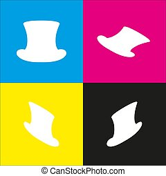 Top hat sign. Vector. White icon with isometric projections on cyan, magenta, yellow and black backgrounds.
