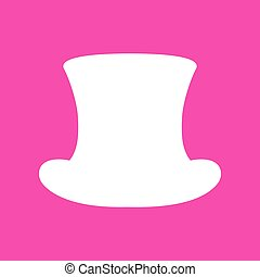 Top hat sign. White icon at magenta background.