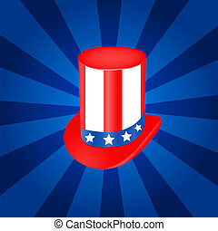 Top hat vector illustration  in USA flag color
