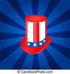 Top hat vector illustration  in USA flag color