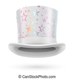 Top hat - White top hat with white stars on the white...