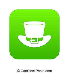 Top hat with buckle icon digital green