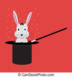 Top hat with rabbit - Magic wand with top hat from which...