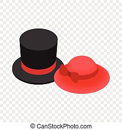 Top hat with red ribbon and red female hat icon