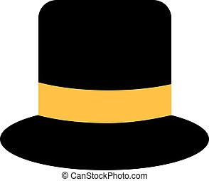Top hat with yellow hatband