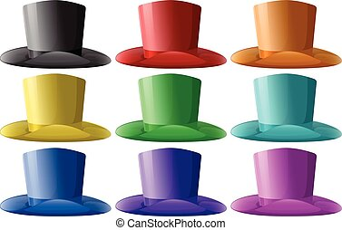 Top hats in nine different colors