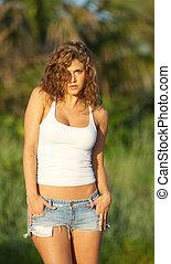 top., jeans, kvinna, cistern, kortbyxor