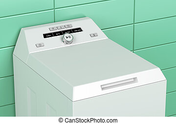 Top load washing machine - Close up of modern top load...