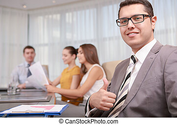 Top manager at the meeting