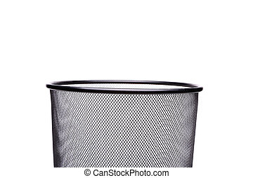 Top metal trash can isolated on white background
