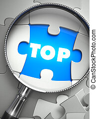 Top - Missing Puzzle Piece through Magnifier. - Top - Word...