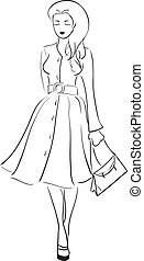 Top model - The symbolical monochrome vector image of the...