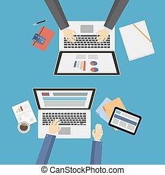 top., negócio, escrivaninha