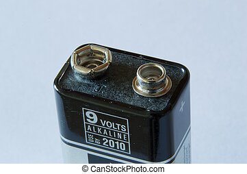 Close up of the connectors on top of a 9 volt battery