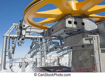 Top of a cable car lift in a ski resort