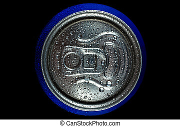 Top of a can with a drink in blue on a black background