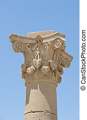 Top of an ancient roman column - Carvings at the top of an...