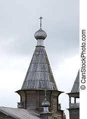 Top of ancient wooden russian church