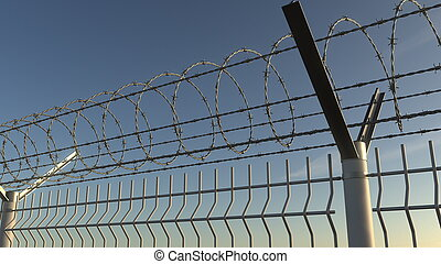 Top of barbed wire fence against sky, 3D rendering - Barbed ...