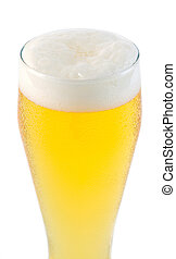 top of beer glass with foam
