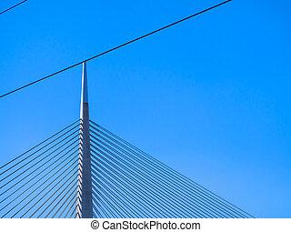 Top of big suspension bridge in Belgrade - clear sky background