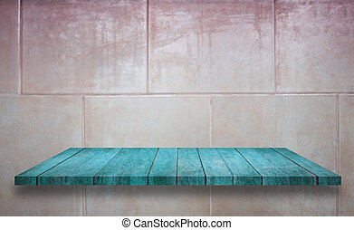 Top of blue wooden shelf on ceramic tiles wall texture background