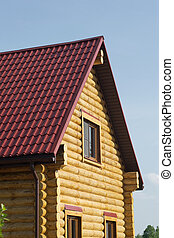 Top of brown country wooden house