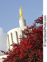 Top of Capital Building in Salem Oregon United States